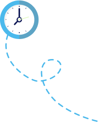 Illustrated clock image with dotted line representing movement.